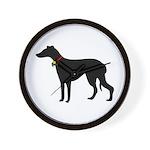 Christmas or Holiday Greyhound Silhouette Wall Clo