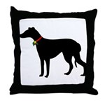 Christmas or Holiday Greyhound Silhouette Throw Pi
