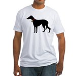 Christmas or Holiday Greyhound Silhouette Fitted T