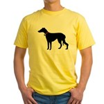 Christmas or Holiday Greyhound Silhouette Yellow T