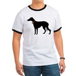Christmas or Holiday Greyhound Silhouette Ringer T