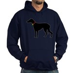 Christmas or Holiday Greyhound Silhouette Hoodie (