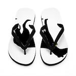 Christmas or Holiday Greyhound Silhouette Flip Flo