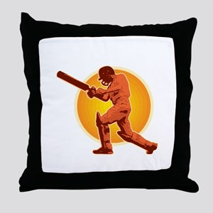 cricket batsman retro Throw Pillow