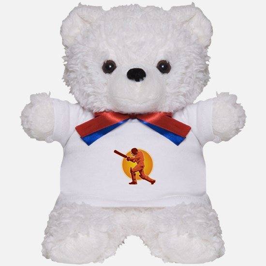 cricket batsman retro Teddy Bear