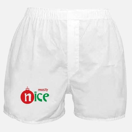 Christmas Mostly Nice Boxer Shorts