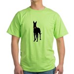 Christmas or Holiday Great Dane Silhouette Green T