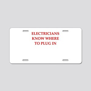 funny electrician Aluminum License Plate