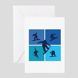 Nice various snowboarding Greeting Card