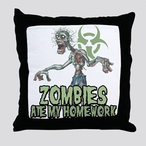 Zombies Ate My Homework Throw Pillow