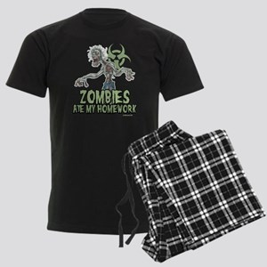 Zombies Ate My Homework Men's Dark Pajamas