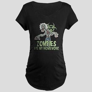 Zombies Ate My Homework Maternity Dark T-Shirt