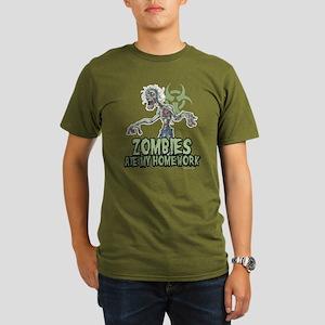 Zombies Ate My Homework Organic Men's T-Shirt (dar