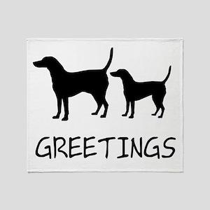 Greetings Dog Sniffs Throw Blanket