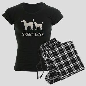 Greetings Dog Sniffs Women's Dark Pajamas