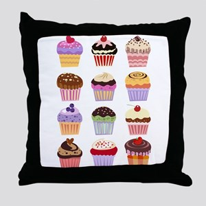Dozen of Cupcakes Throw Pillow