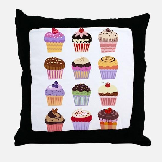 Dozen of Cupcakes Throw Pillow