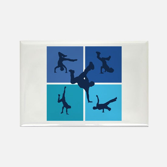 Nice various breakdancing Rectangle Magnet