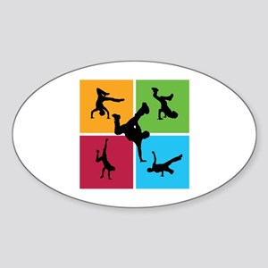 Nice various breakdancing Sticker (Oval)