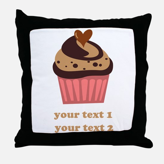 PERSONALIZE Chocolate Cupcake Throw Pillow