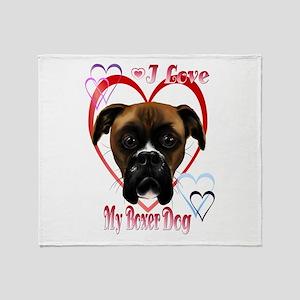 I Love My Boxer Dog Throw Blanket