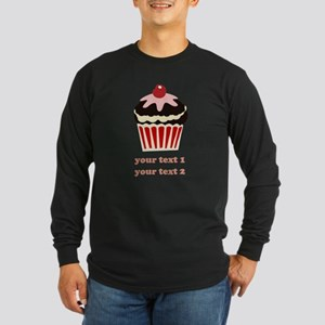 PERSONALIZE Vanilla Cupcake Long Sleeve Dark T-Shi