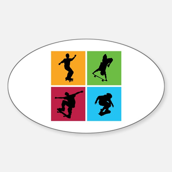 Nice various skating Sticker (Oval)