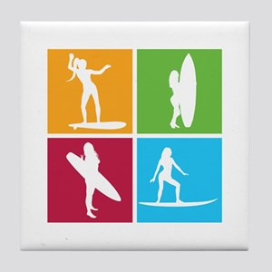 various surfing girls Tile Coaster