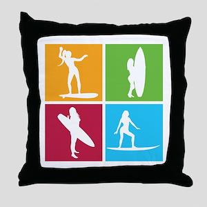 various surfing girls Throw Pillow