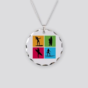 various surfing girls Necklace Circle Charm