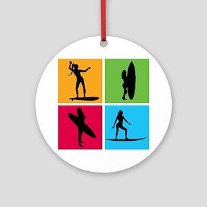 various surfing girls Ornament (Round)