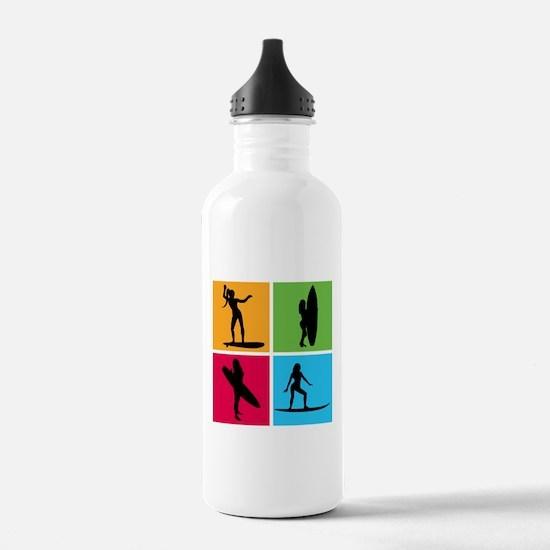 various surfing girls Water Bottle