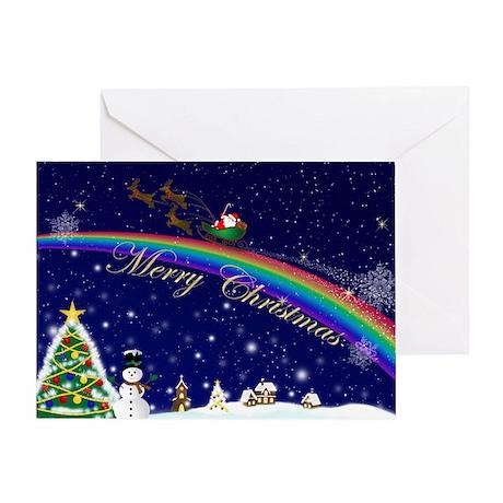 Rainbow Santa (Blank) Greeting Card