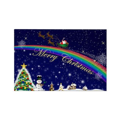 Rainbow Santa Rectangle Magnet (10 pack)