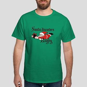Santa Rugby Christmas Dark T-Shirt