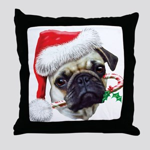 Pug Christmas Throw Pillow