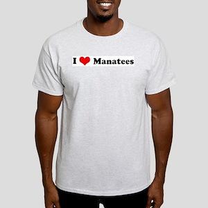 I Love Manatees Ash Grey T-Shirt