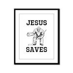 Jesus Saves - Hockey 1 Framed Panel Print