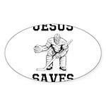 Jesus Saves - Hockey 1 Sticker (Oval 50 pk)