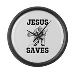 Jesus Saves - Hockey 1 Large Wall Clock