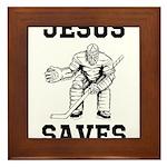 Jesus Saves - Hockey 1 Framed Tile