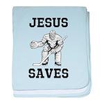Jesus Saves - Hockey 1 baby blanket