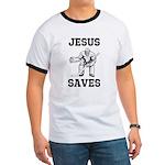 Jesus Saves - Hockey 1 Ringer T