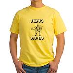 Jesus Saves - Hockey 1 Yellow T-Shirt