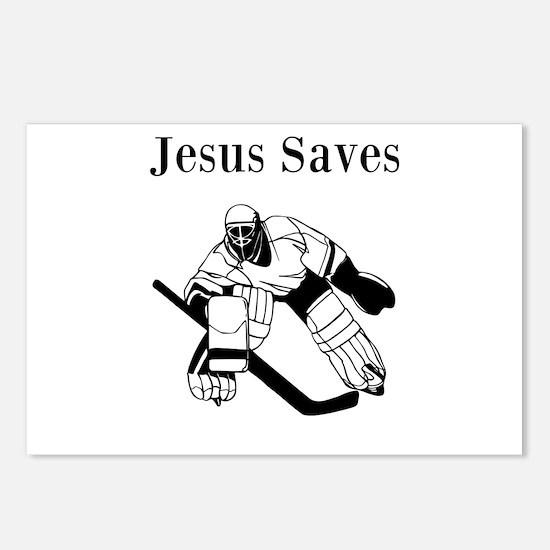 Jesus Saves - Hockey 3 Postcards (Package of 8)