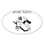Jesus Saves - Hockey 3 Sticker (Oval 50 pk)