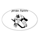 Jesus Saves - Hockey 3 Sticker (Oval 10 pk)