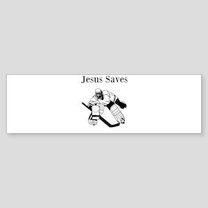 Jesus Saves - Hockey 3 Sticker (Bumper)