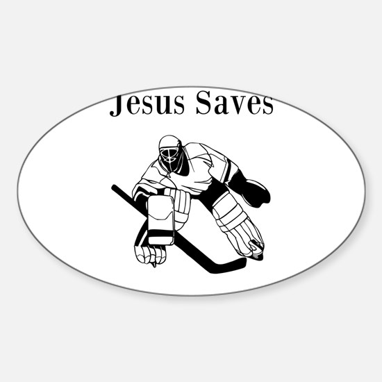 Jesus Saves - Hockey 3 Sticker (Oval)