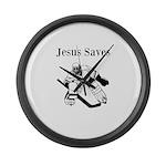 Jesus Saves - Hockey 3 Large Wall Clock